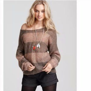 Free People Oversized Striped Mohair Sweater Large